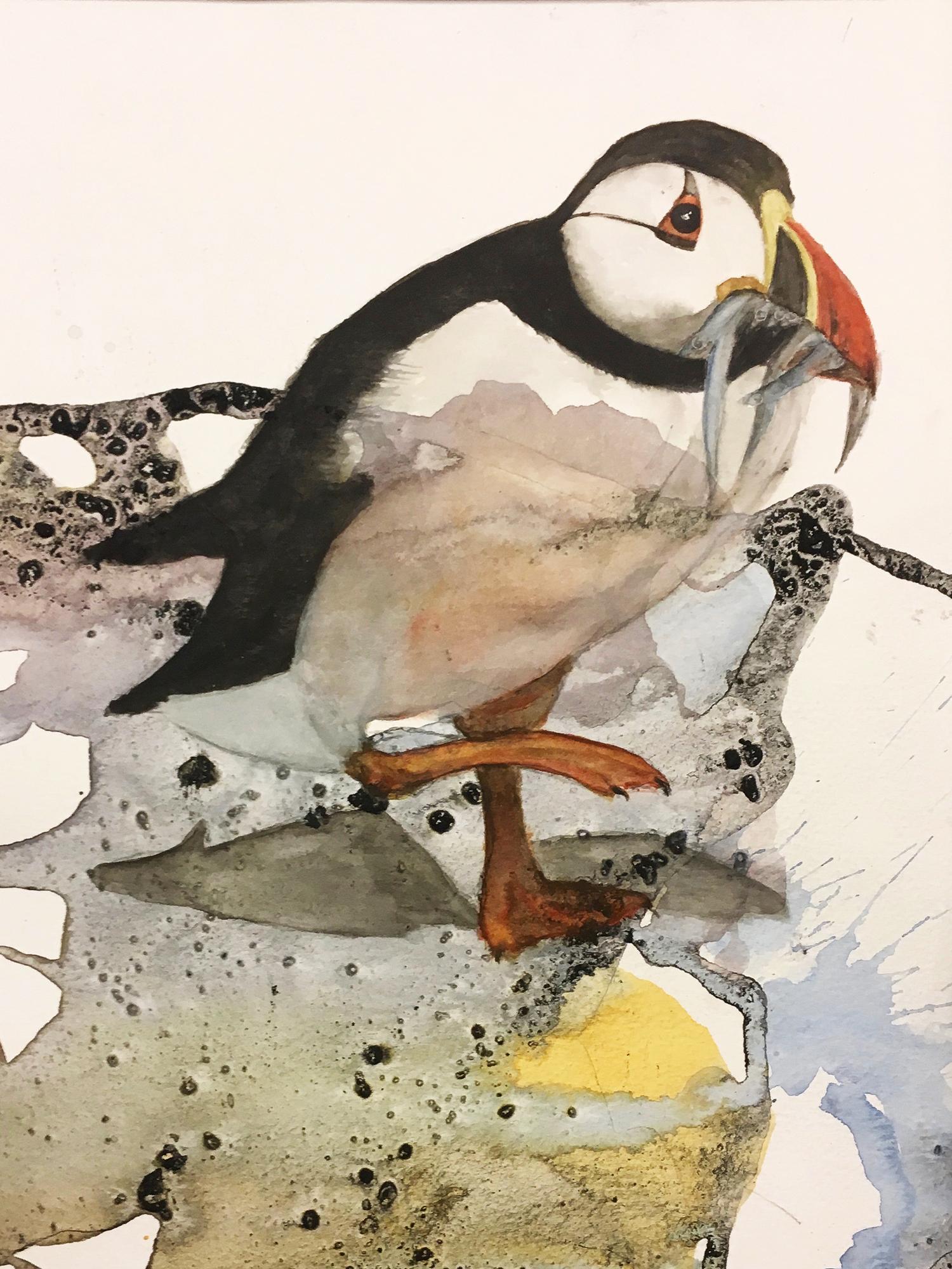 Akvarel på baggrund af kul og lim, 30x40 cm indrammet