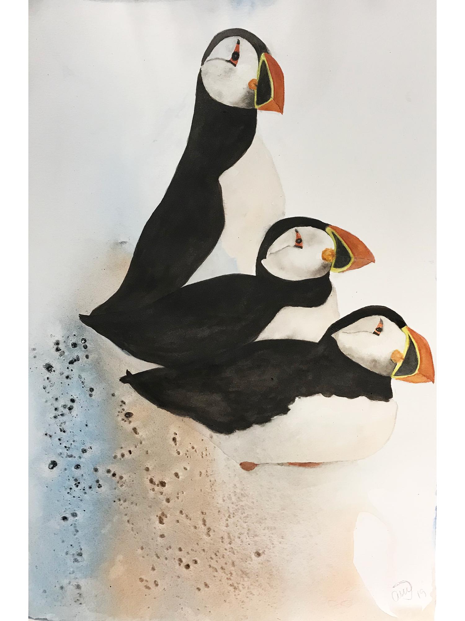 Akvarel på baggrund af sand og lim, indrammet 50x70 cm