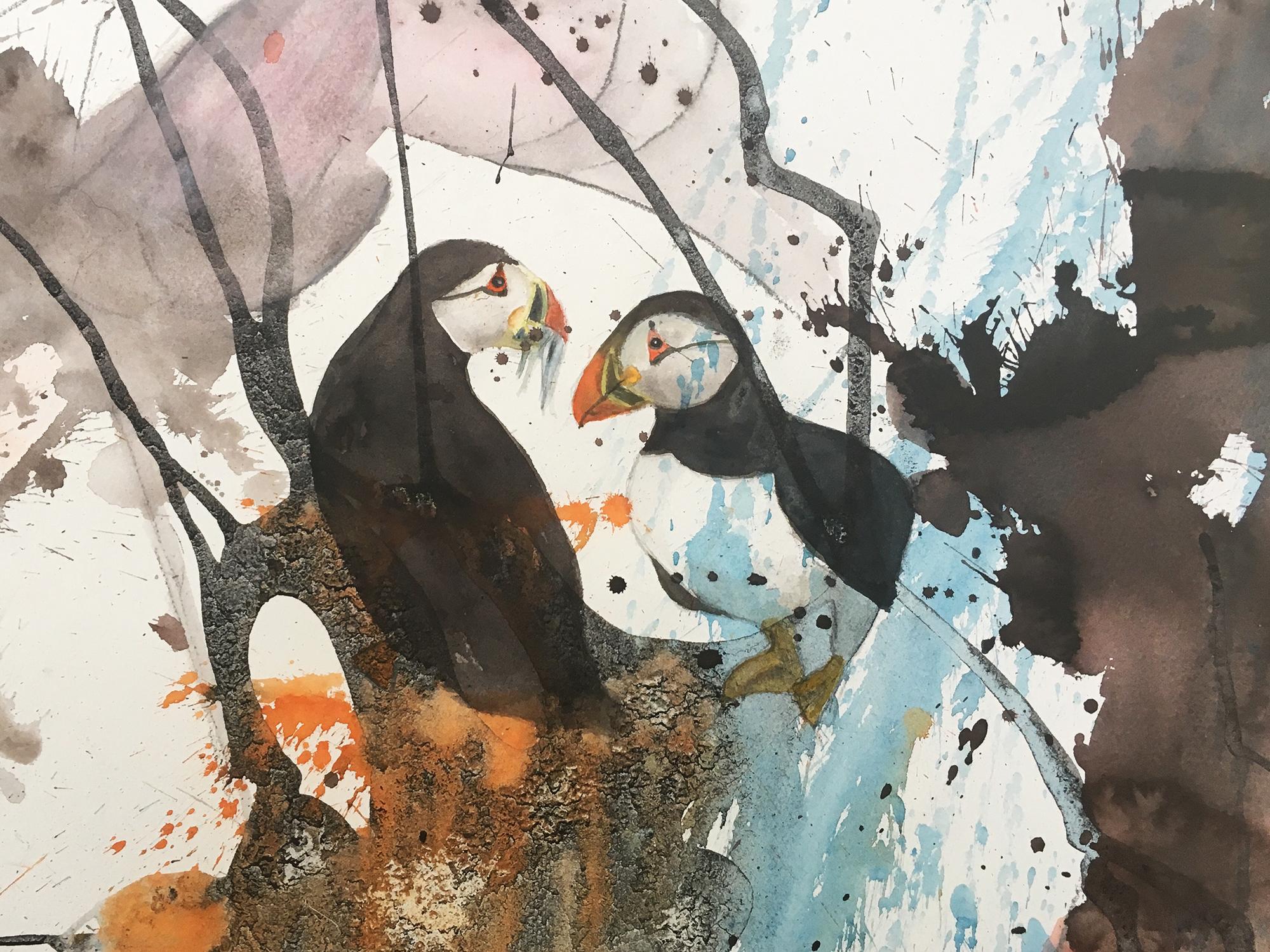 Akvarel på baggrund af kul og lim, 40x60 cm indrammet