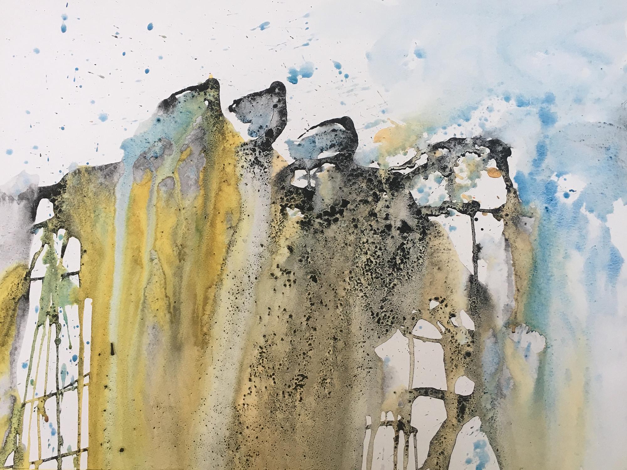 Akvarel på baggrund af kul og lim, 50x50 cm indrammet
