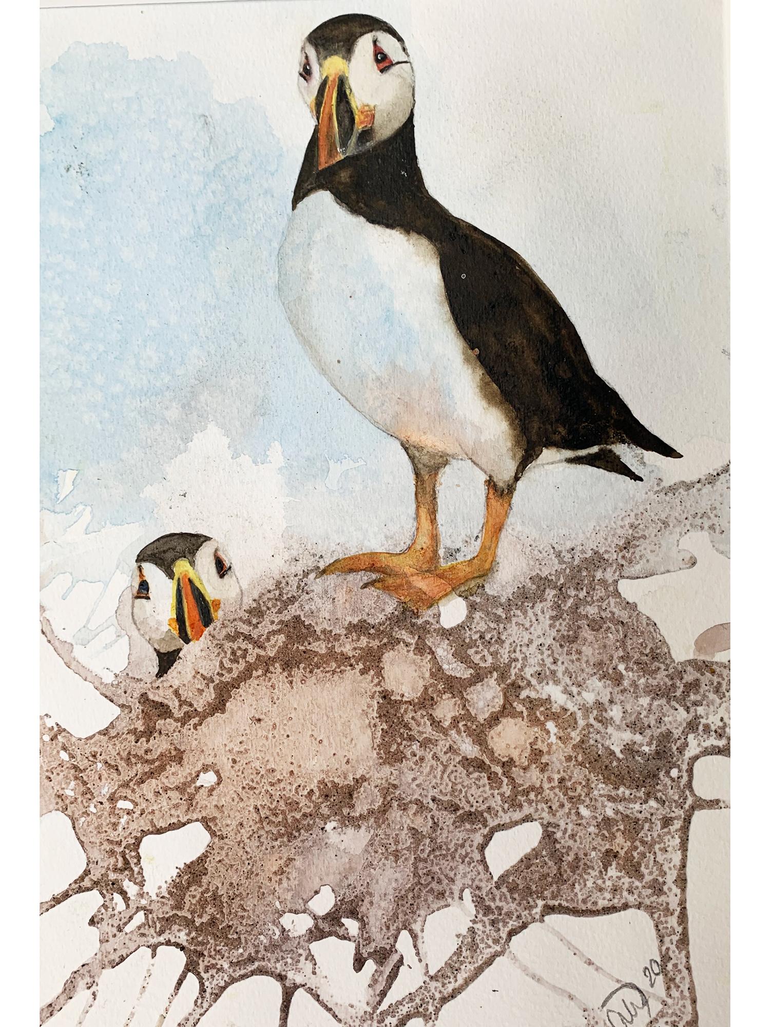 Akvarel på baggrund af sand og lim, 30x40 cm indrammet