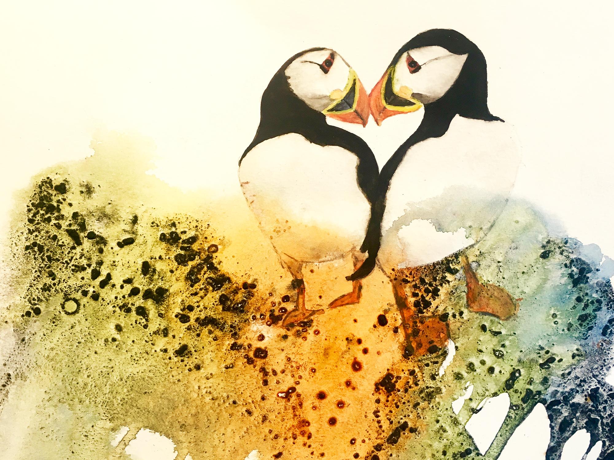 Akvarel på baggrund af kul og lim, indrammet 50x70 cm